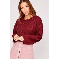 Berry Jumpers - Herrera Berry Knitted Distressed Jumper