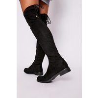 Black Boots - Hana Black Faux Suede Thigh High Boots