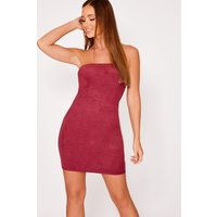 Berry Dresses - Gemini Berry Faux Suede Bandeau Mini Dress