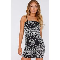 Black Dresses - Ailah Black Scarf Print Square Neck Slip Dress