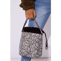 Grey Bags - Grey Snake Print Bucket Bag