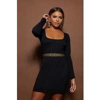 Black Dresses - Aphrodite Black Greek Key Tape Trim Long Sleeve Bodycon Dress