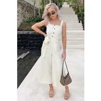 Cream Jumpsuits - Laura Jade Cream Strappy Button Front Culotte Jumpsuit
