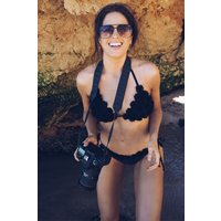 Black Bottoms - Binky Black Flower Trim Tie Side Bikini Bottoms
