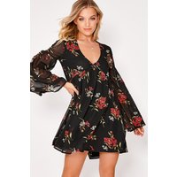Black Dresses - Adyson Black Oversized Floral Plunge Flared Sleeve Smock Dress