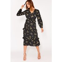 Black Dresses - Beckey Black Floral Button Down Midi Dress