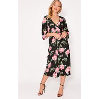 Black Dresses - Alme Black Floral Wrap Midi Dress