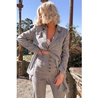 Black Blazers - Laura Jade Grey Heritage Check Double Breasted Longline Blazer