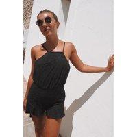 Black Playsuits - Dani Dyer Black Tie Shoulder Lace Playsuit