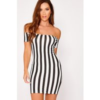 Black Dresses - Adelisa Black Striped Short Sleeve Bardot Mini Dress