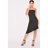 Black Dresses - Beckiey Black Polka Dot Bandeau Frill Midi Dress
