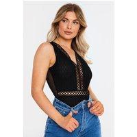 Black Bodysuits - Auna Black Crochet Trim Mesh Sleeveless Bodysuit
