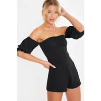 Black Playsuits - Demita Black Bardot Puff Sleeve Ruched Front Playsuit