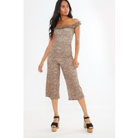 Brown Jumpsuits - Starli Leopard Frill Bardot Culotte Jumpsuit