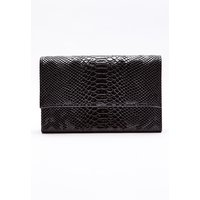 Black Bags - Black Faux Croc Clutch Bag