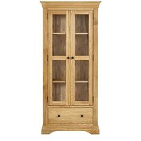 Product photograph showing Luxe Collection Constance Oak Ready Assembled Glass Door Display Cabinet