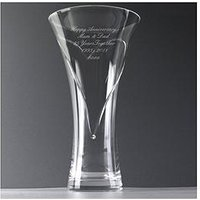 Product photograph showing Personalised Hand Cut Heart Vase With Swarovski Crystal Elements