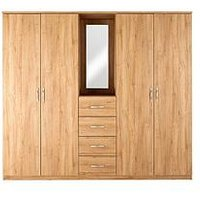 Product photograph showing Home Essentials - Peru 4-door 4-drawer Combi Fitment Wardrobe