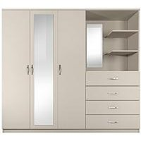 Product photograph showing Peru 3 Door 4 Drawer Mirrored Combi Wardrobe