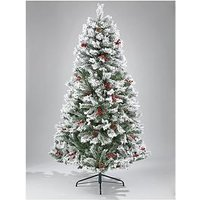Product photograph showing 7ft Bavarian Pine Flocked Christmas Tree With Cones And Berries