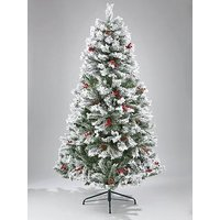Product photograph showing Bavarian Pine Christmas Tree With Snow - 6ft