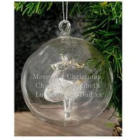 Product photograph showing Personalised Reindeer Glass Christmas Tree Bauble