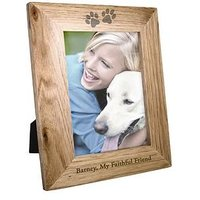 Product photograph showing Personalised 6x4 Pet Print Wooden Photo Frame