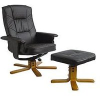 Product photograph showing Alphason Drake Recliner Office Chair With Matching Footstool