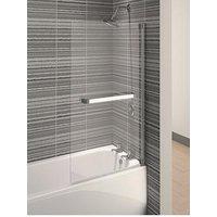 Product photograph showing Aqualux Aqua 4 Square Bath Shower Screen With Towel Rail - 137 5 X 75 Cm