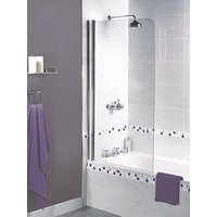 Product photograph showing Aqualux Shine Half Framed Radius Bath Shower Screen - 1500 X 850mm