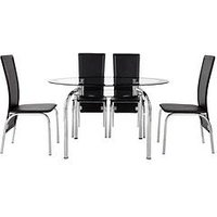 Product photograph showing Varezze 130cm Glass Dining Table 4 Chairs