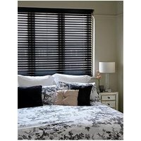 Product photograph showing Made To Measure 50 Mm Wooden Venetian Blinds - Black