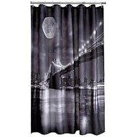 Product photograph showing Aqualona Brooklyn Bridge Shower Curtain - Black White
