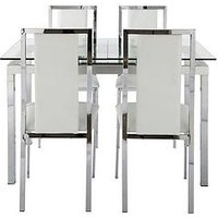 Product photograph showing Glide Extending Glass Table Plus 4 Atlantic Chairs - Clear