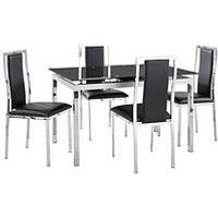 Product photograph showing Glide Glass And Chrome 120-150 Cm Extending Dining Table 4 Atlantic Chairs - Black