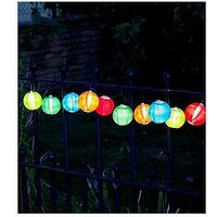 Product photograph showing Smart Solar Multi-coloured Chinese Lantern String Lights With 10 White Led S