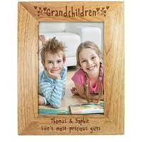 Product photograph showing Personalised Grandchildren Wooden Photo Frame