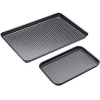 Product photograph showing Kitchencraft Non-stick Crusty Bake Twin Baking Tray Set