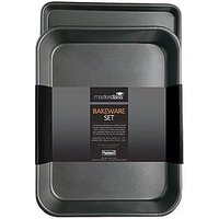 Product photograph showing Masterclass Non-stick Roasting Tray And Oven Baking Tray Twin Pack