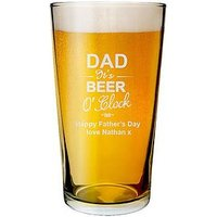 Product photograph showing Personalised Dad It S Beer O Clock Pint Glass