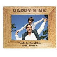 Product photograph showing Personalised Daddy Me Wooden Photo Frame In 3 Sizes