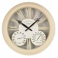 Product photograph showing Smart Garden Cream Exeter Wall Clock Amp Thermometer