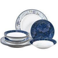 Product photograph showing Waterside Midnight Garden 12 Piece Dinner Set