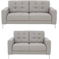 Product photograph showing Brook Premium Leather 3 Seater 2 Seater Sofa Set Buy And Save
