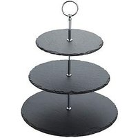 Product photograph showing Masterclass Artes Agrave Three Tier Slate Cake Stand 28 5x34 5cm
