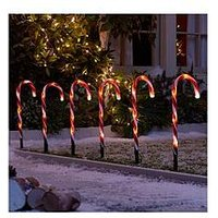 Product photograph showing Candy Cane Garden Stake Light Outdoor Christmas Decorations Set Of 6