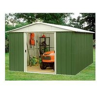Product photograph showing Yardmaster 12 7x9 3ft Apex Roof Metal Garden Shed