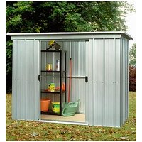 Product photograph showing Yardmaster 6 5 X 3 9ft Double Door Metal Pent Roof Shed
