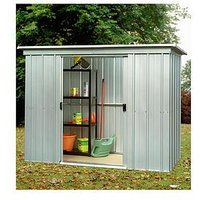 Product photograph showing Yardmaster 6 5 X 3 9ft Double Door Metal Pent Roof Shed With Floor Frame