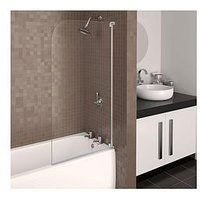 Product photograph showing Aqualux Aqua 3 Half Frame Radius Bath Shower Screen - White Hinge